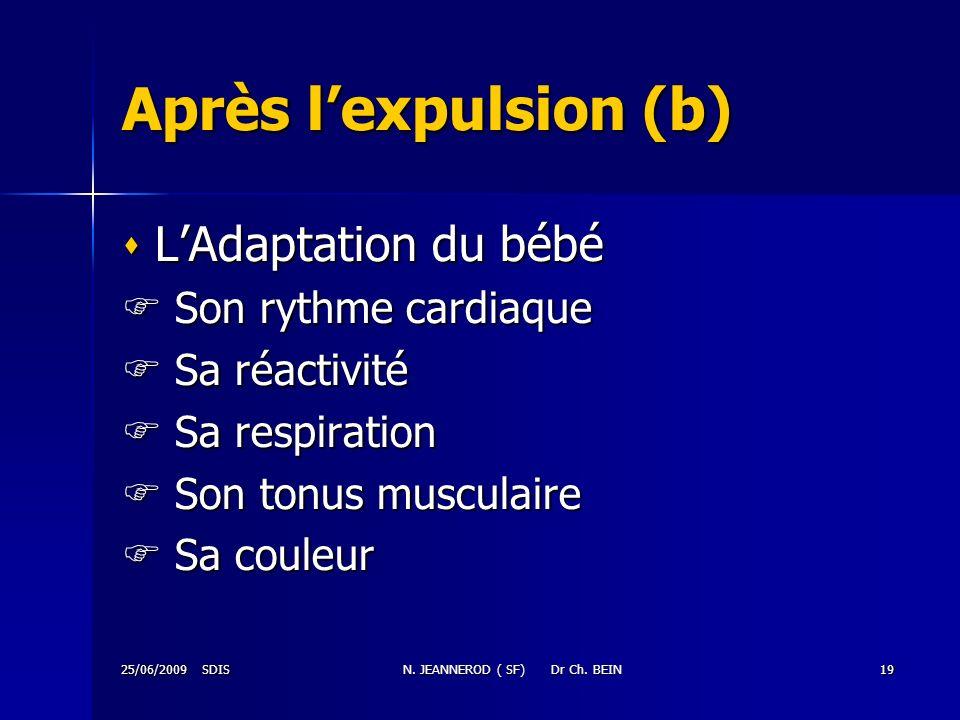 25/06/2009 SDISN. JEANNEROD ( SF) Dr Ch. BEIN19 Après lexpulsion (b) LAdaptation du bébé LAdaptation du bébé Son rythme cardiaque Son rythme cardiaque
