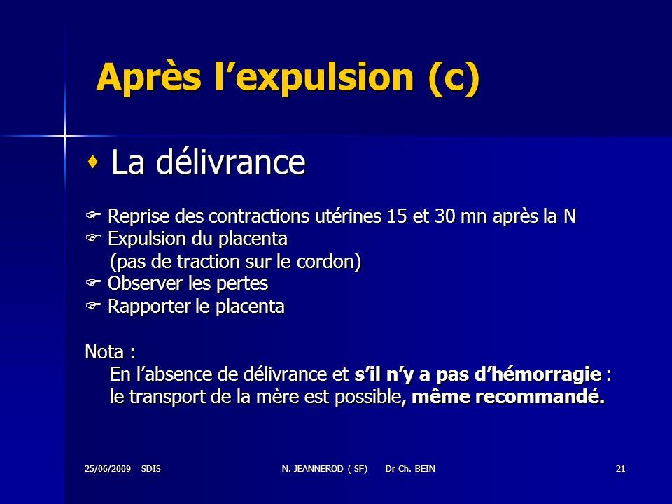 25/06/2009 SDISN. JEANNEROD ( SF) Dr Ch. BEIN21 Après lexpulsion (c) La délivrance La délivrance Reprise des contractions utérines 15 et 30 mn après l