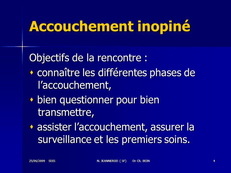 25/06/2009 SDISN. JEANNEROD ( SF) Dr Ch. BEIN4 Accouchement inopiné Objectifs de la rencontre : connaître les différentes phases de laccouchement, con