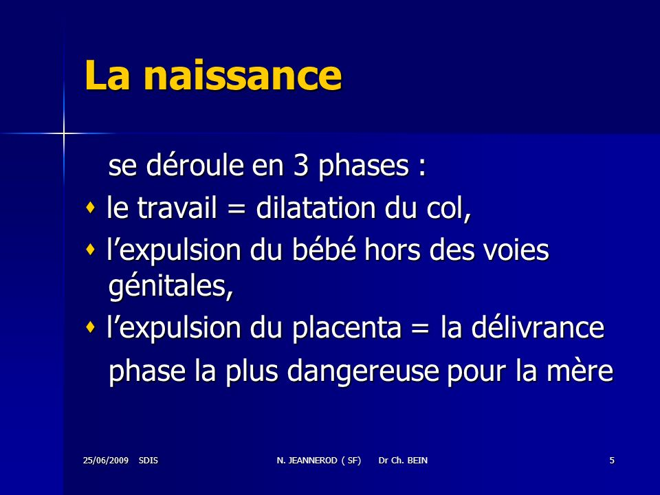 25/06/2009 SDISN. JEANNEROD ( SF) Dr Ch. BEIN5 La naissance se déroule en 3 phases : le travail = dilatation du col, le travail = dilatation du col, l