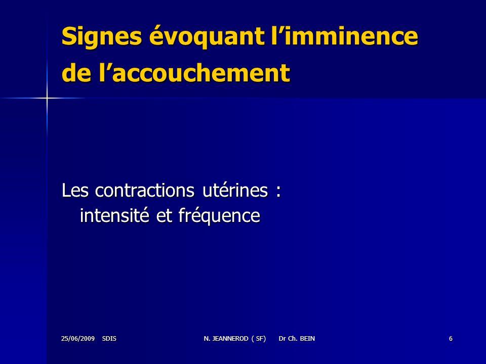 25/06/2009 SDISN. JEANNEROD ( SF) Dr Ch. BEIN6 Signes évoquant limminence de laccouchement Les contractions utérines : intensité et fréquence