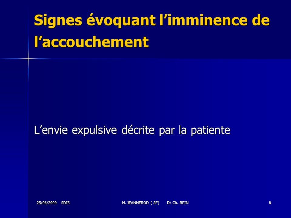 25/06/2009 SDISN. JEANNEROD ( SF) Dr Ch. BEIN8 Signes évoquant limminence de laccouchement Lenvie expulsive décrite par la patiente