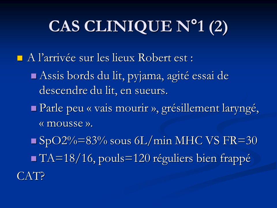 CAS CLINIQUE N°1 (2) A larrivée sur les lieux Robert est : A larrivée sur les lieux Robert est : Assis bords du lit, pyjama, agité essai de descendre