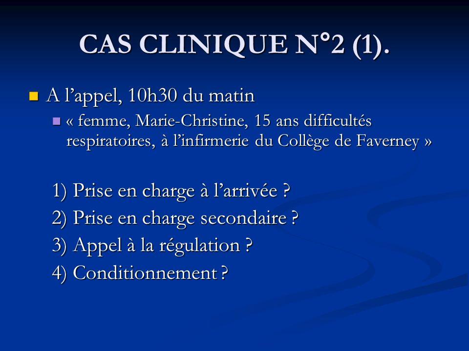 CAS CLINIQUE N°2 (1). A lappel, 10h30 du matin A lappel, 10h30 du matin « femme, Marie-Christine, 15 ans difficultés respiratoires, à linfirmerie du C