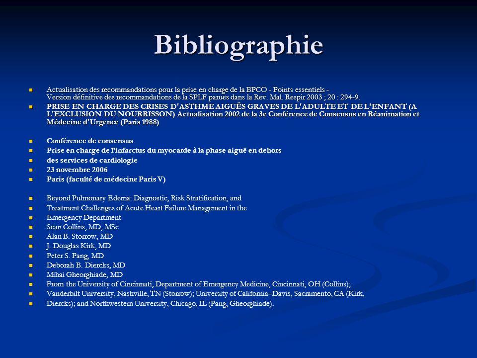 Bibliographie Actualisation des recommandations pour la prise en charge de la BPCO - Points essentiels - Version définitive des recommandations de la