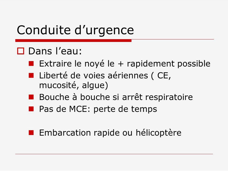 Conduite durgence Dans leau: Extraire le noyé le + rapidement possible Liberté de voies aériennes ( CE, mucosité, algue) Bouche à bouche si arrêt resp