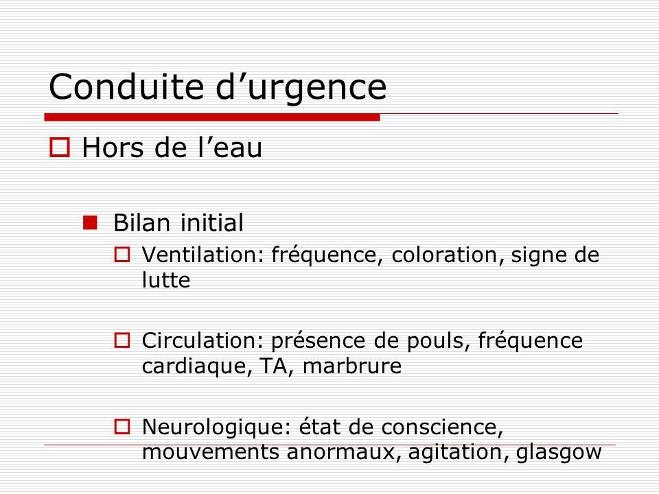 Conduite durgence Hors de leau Bilan initial Ventilation: fréquence, coloration, signe de lutte Circulation: présence de pouls, fréquence cardiaque, T