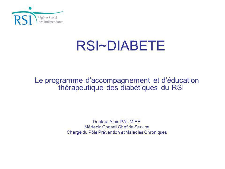 RSI~DIABETE Le programme daccompagnement et déducation thérapeutique des diabétiques du RSI Docteur Alain PAUMIER Médecin Conseil Chef de Service Char