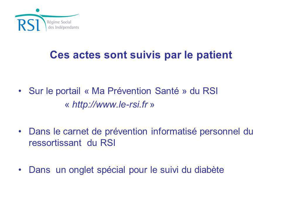 Ces actes sont suivis par le patient Sur le portail « Ma Prévention Santé » du RSI « http://www.le-rsi.fr » Dans le carnet de prévention informatisé p