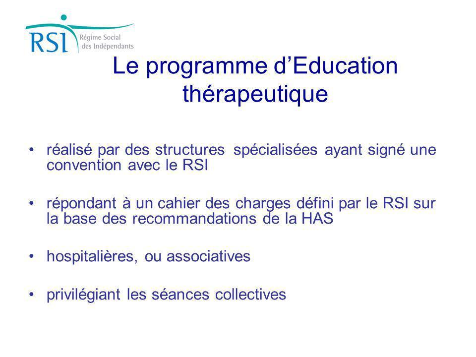 Le programme dEducation thérapeutique réalisé par des structures spécialisées ayant signé une convention avec le RSI répondant à un cahier des charges
