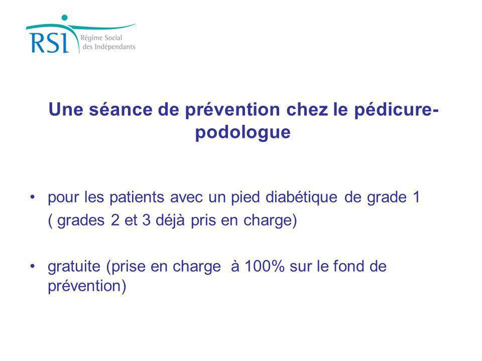 pour les patients avec un pied diabétique de grade 1 ( grades 2 et 3 déjà pris en charge) gratuite (prise en charge à 100% sur le fond de prévention)