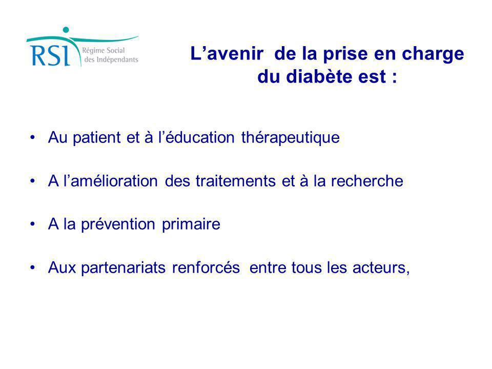 Lavenir de la prise en charge du diabète est : Au patient et à léducation thérapeutique A lamélioration des traitements et à la recherche A la prévent