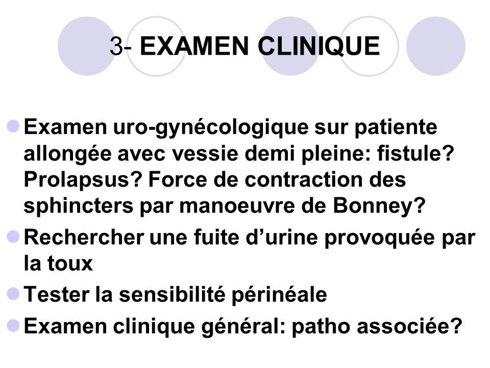 3- EXAMEN CLINIQUE Examen uro-gynécologique sur patiente allongée avec vessie demi pleine: fistule.