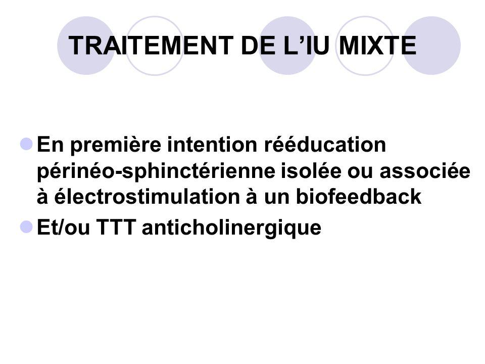 TRAITEMENT DE LIU MIXTE En première intention rééducation périnéo-sphinctérienne isolée ou associée à électrostimulation à un biofeedback Et/ou TTT anticholinergique