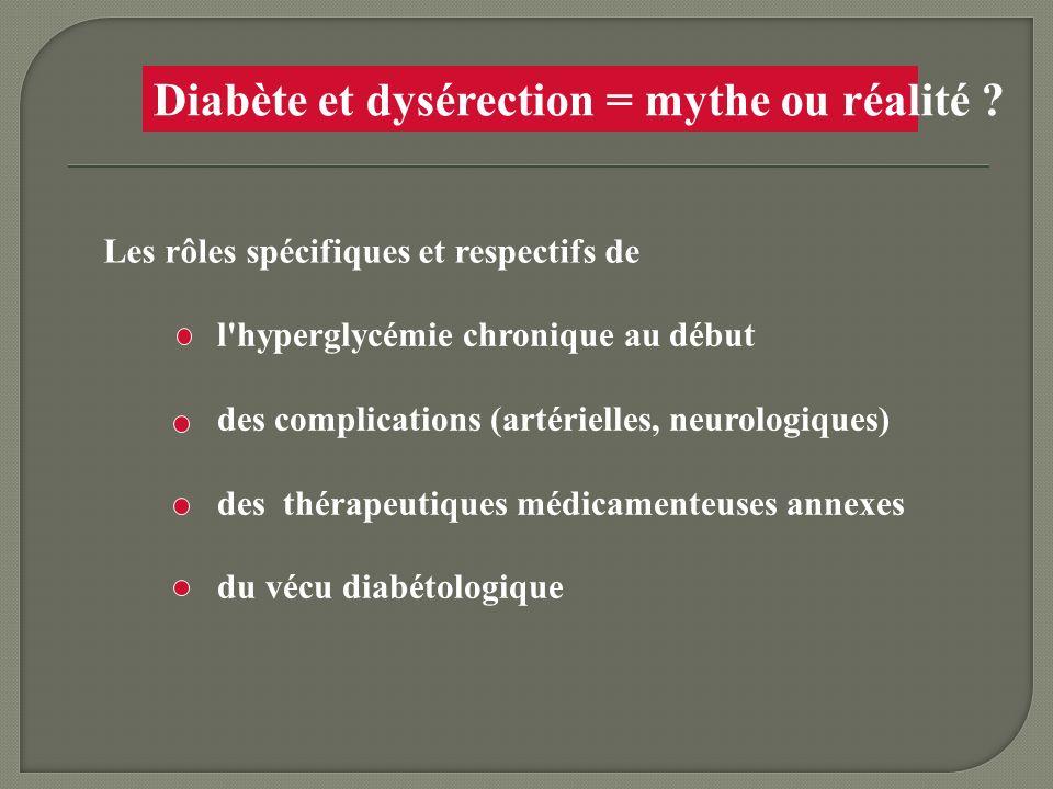 Diabète et dysérection = mythe ou réalité ? Les rôles spécifiques et respectifs de l'hyperglycémie chronique au début des complications (artérielles,