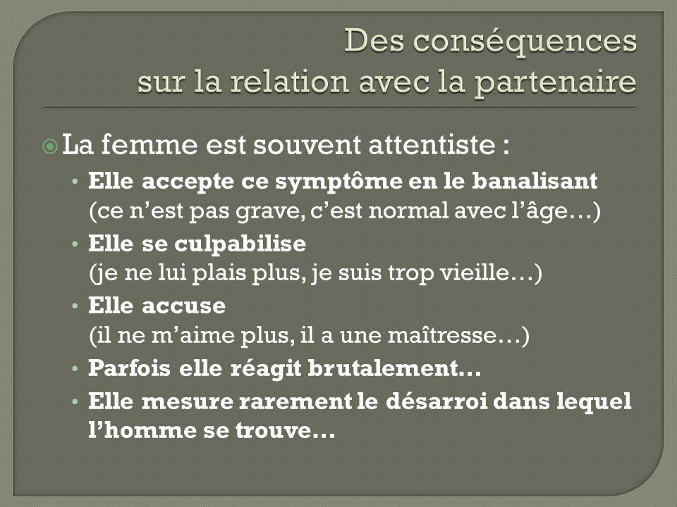 La femme est souvent attentiste : Elle accepte ce symptôme en le banalisant (ce nest pas grave, cest normal avec lâge…) Elle se culpabilise (je ne lui
