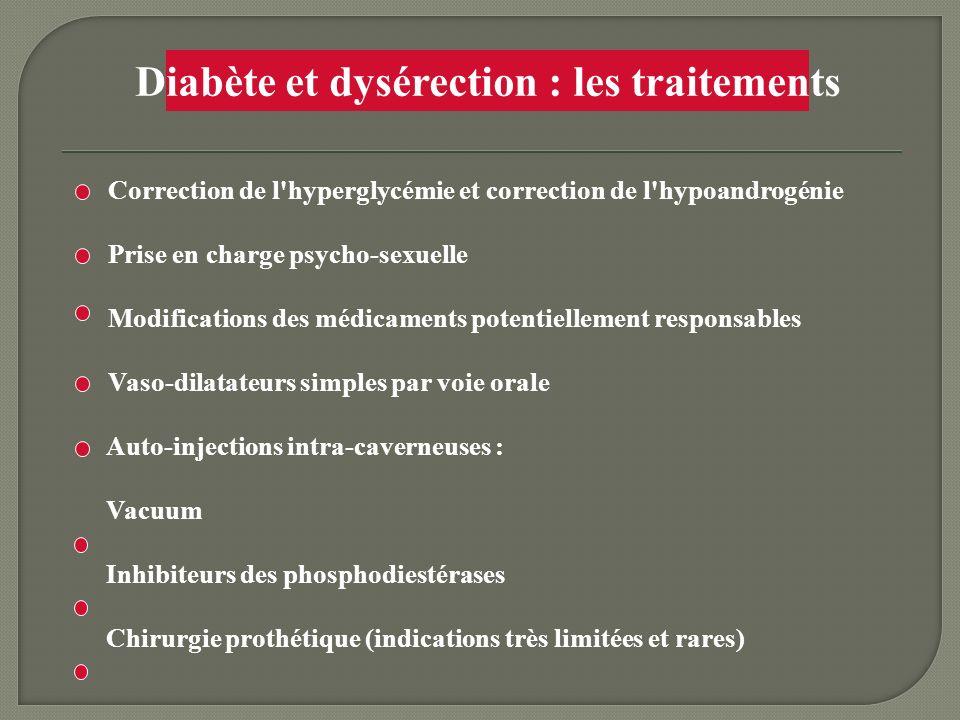 Diabète et dysérection : les traitements Correction de l'hyperglycémie et correction de l'hypoandrogénie Prise en charge psycho-sexuelle Modifications