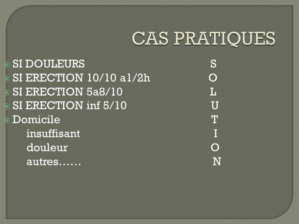 CAS PRATIQUES SI DOULEURS S SI ERECTION 10/10 a1/2h O SI ERECTION 5a8/10 L SI ERECTION inf 5/10 U Domicile T insuffisant I douleur O autres…… N