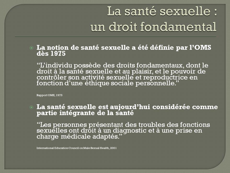La notion de santé sexuelle a été définie par lOMS dès 1975 Lindividu possède des droits fondamentaux, dont le droit à la santé sexuelle et au plaisir