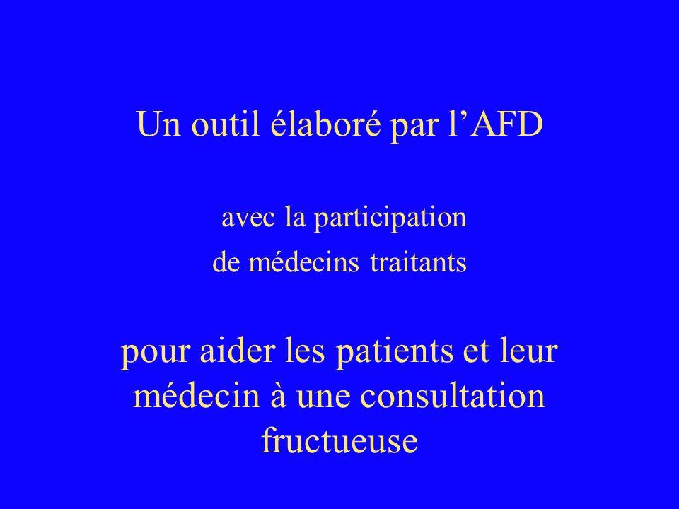 Un outil élaboré par lAFD avec la participation de médecins traitants pour aider les patients et leur médecin à une consultation fructueuse