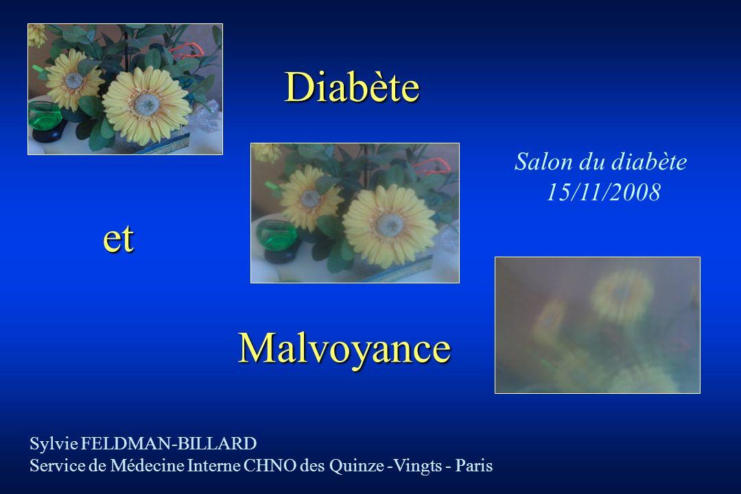 Malvoyance Sylvie FELDMAN-BILLARD Service de Médecine Interne CHNO des Quinze -Vingts - Paris Salon du diabète 15/11/2008 Diabète et