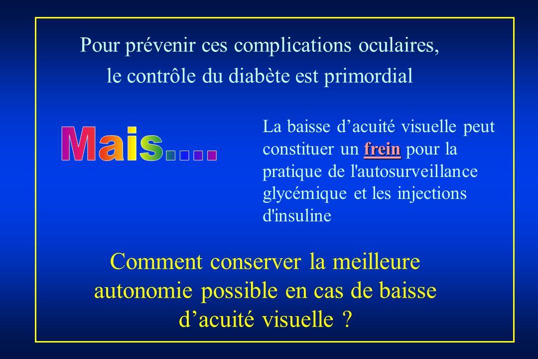 Pour prévenir ces complications oculaires, le contrôle du diabète est primordial frein La baisse dacuité visuelle peut constituer un frein pour la pra