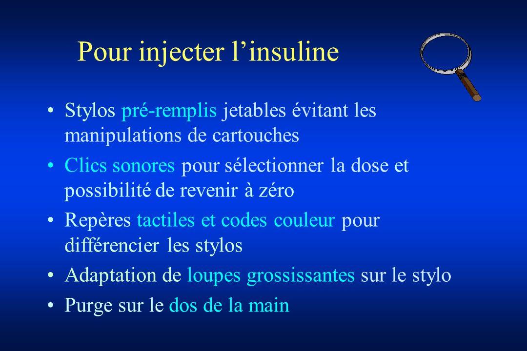 Pour injecter linsuline Stylos pré-remplis jetables évitant les manipulations de cartouches Clics sonores pour sélectionner la dose et possibilité de