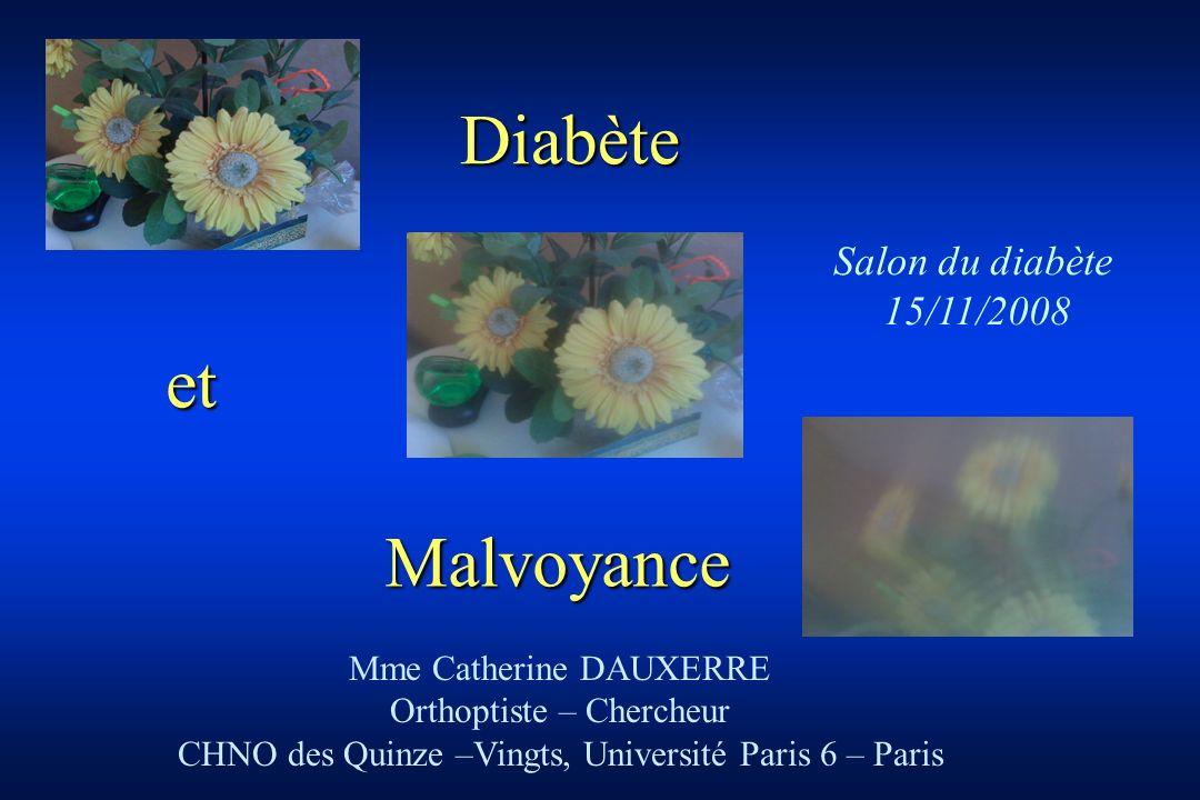 Malvoyance Mme Catherine DAUXERRE Orthoptiste – Chercheur CHNO des Quinze –Vingts, Université Paris 6 – Paris Salon du diabète 15/11/2008 Diabète et