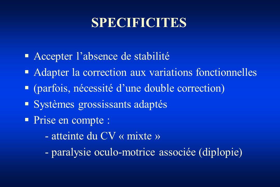 SPECIFICITES Accepter labsence de stabilité Adapter la correction aux variations fonctionnelles (parfois, nécessité dune double correction) Systèmes g