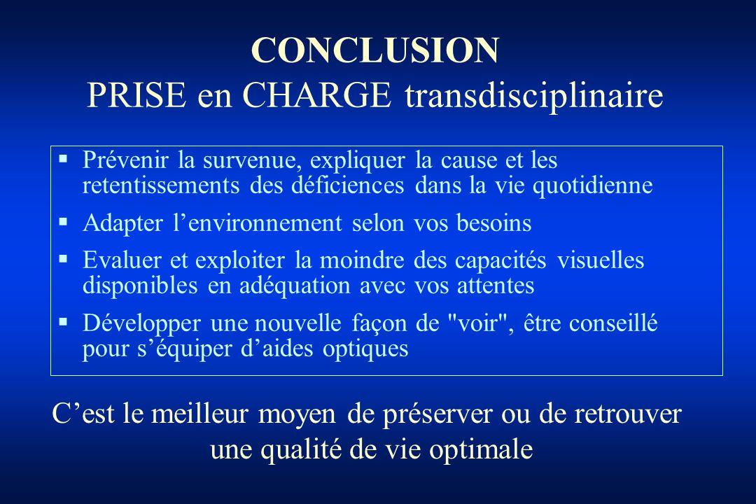 CONCLUSION PRISE en CHARGE transdisciplinaire Prévenir la survenue, expliquer la cause et les retentissements des déficiences dans la vie quotidienne