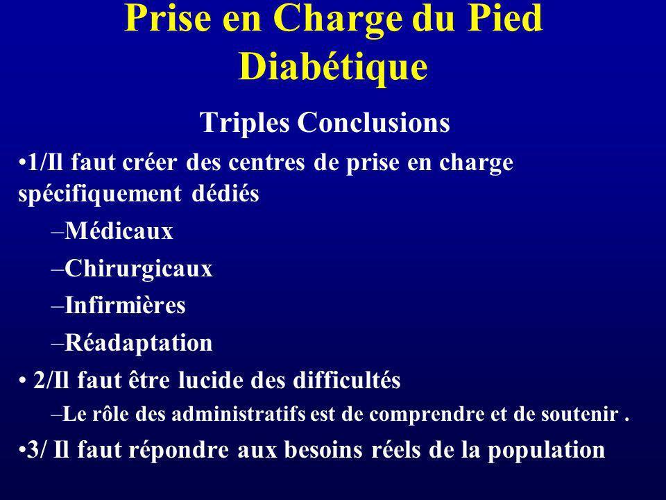 Prise en Charge du Pied Diabétique Triples Conclusions 1/Il faut créer des centres de prise en charge spécifiquement dédiés –Médicaux –Chirurgicaux –I