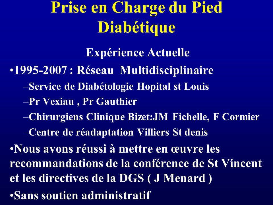 Prise en Charge du Pied Diabétique Expérience Actuelle 1995-2007 : Réseau Multidisciplinaire –Service de Diabétologie Hopital st Louis –Pr Vexiau, Pr