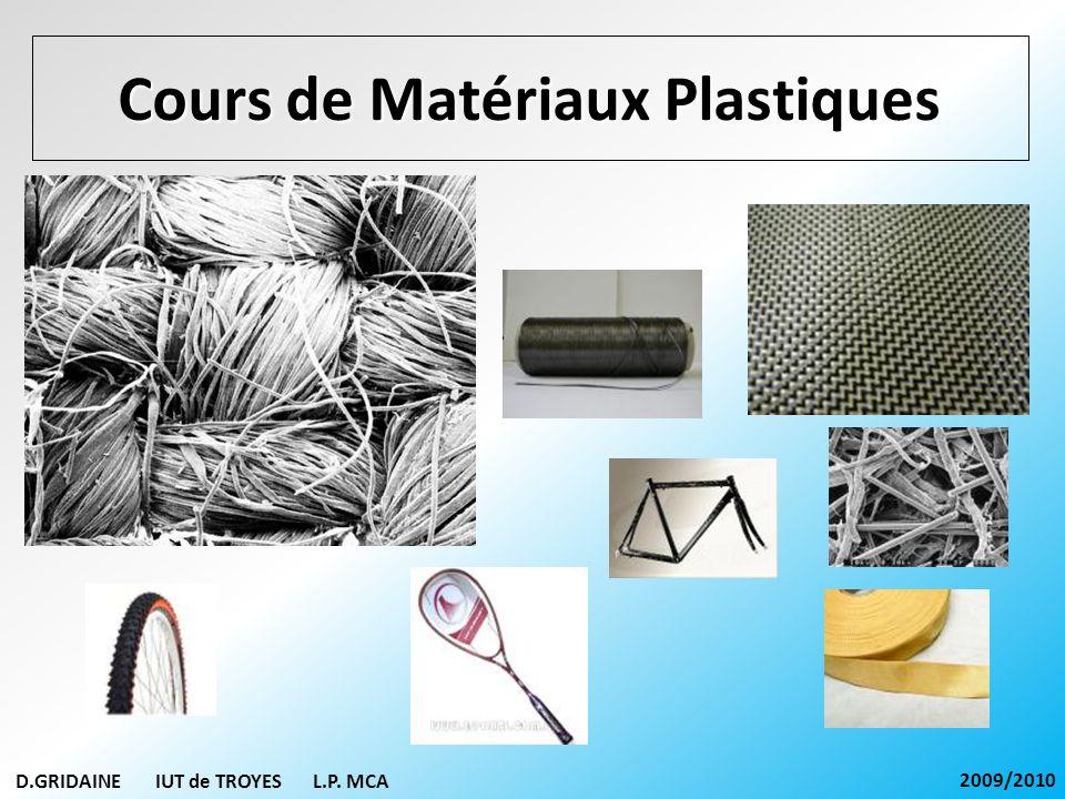 Cours de Matériaux Plastiques D.GRIDAINE IUT de TROYES L.P. MCA 2009/2010