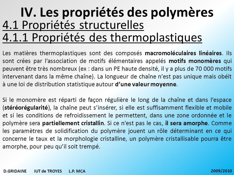 IV. Les propriétés des polymères 4.1.1 Propriétés des thermoplastiques D.GRIDAINE IUT de TROYES L.P. MCA 2009/2010 Les matières thermoplastiques sont