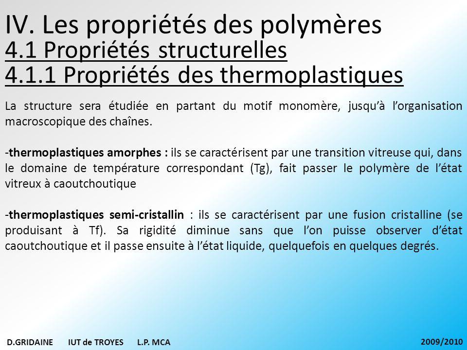IV. Les propriétés des polymères 4.1.1 Propriétés des thermoplastiques D.GRIDAINE IUT de TROYES L.P. MCA 2009/2010 La structure sera étudiée en partan