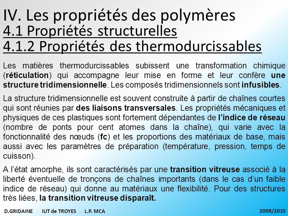 IV. Les propriétés des polymères 4.1.2 Propriétés des thermodurcissables D.GRIDAINE IUT de TROYES L.P. MCA 2009/2010 Les matières thermodurcissables s
