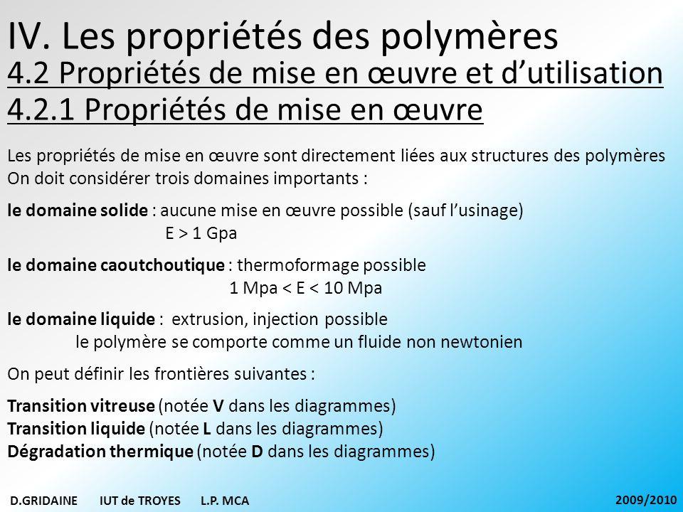IV. Les propriétés des polymères 4.2.1 Propriétés de mise en œuvre D.GRIDAINE IUT de TROYES L.P. MCA 2009/2010 Les propriétés de mise en œuvre sont di