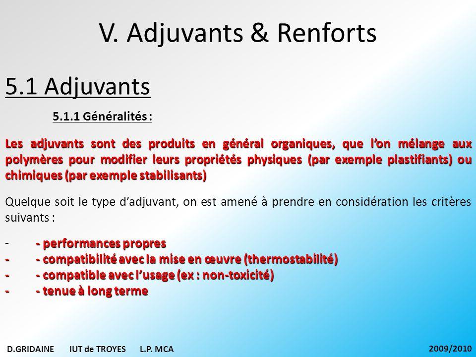 V. Adjuvants & Renforts 5.1 Adjuvants 5.1.1 Généralités : Les adjuvants sont des produits en général organiques, que lon mélange aux polymères pour mo