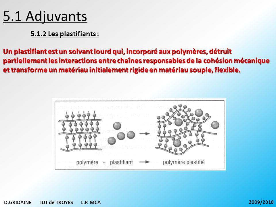 5.1 Adjuvants 5.1.2 Les plastifiants : Un plastifiant est un solvant lourd qui, incorporé aux polymères, détruit partiellement les interactions entre