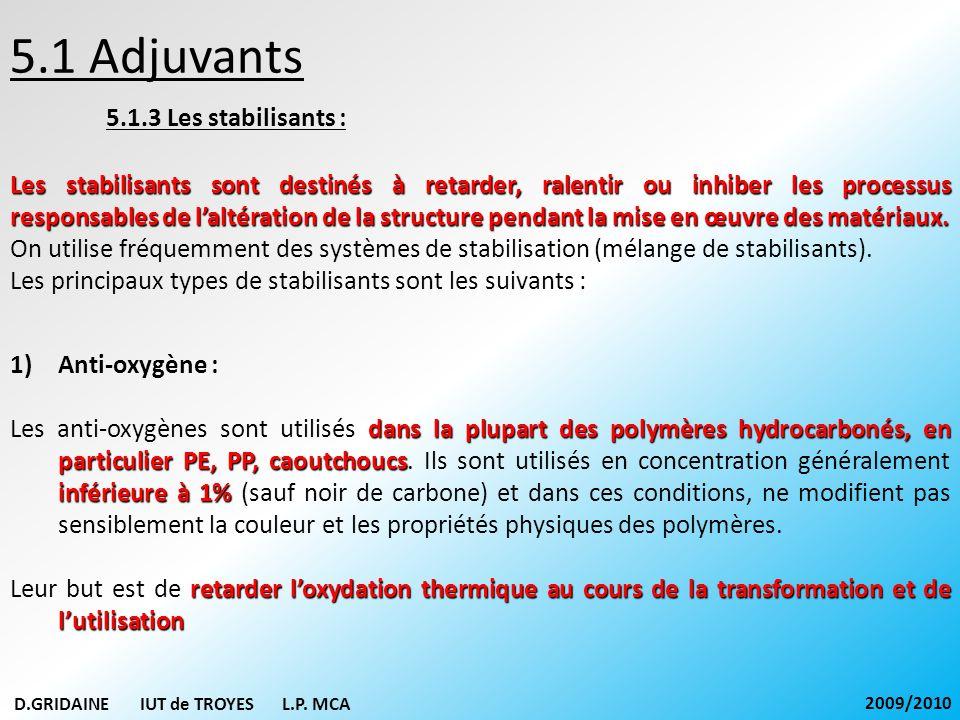 5.1 Adjuvants 5.1.3 Les stabilisants : Les stabilisants sont destinés à retarder, ralentir ou inhiber les processus responsables de laltération de la