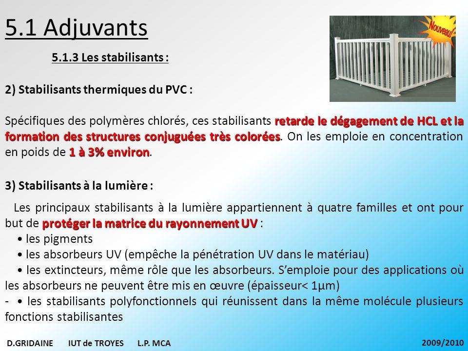 5.1 Adjuvants 5.1.3 Les stabilisants : 2) Stabilisants thermiques du PVC : retarde le dégagement de HCL et la formation des structures conjuguées très