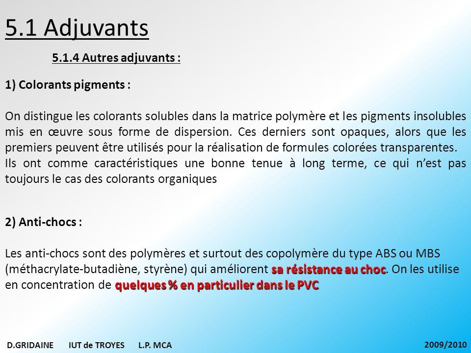 5.1 Adjuvants 5.1.4 Autres adjuvants : 1) Colorants pigments : On distingue les colorants solubles dans la matrice polymère et les pigments insolubles