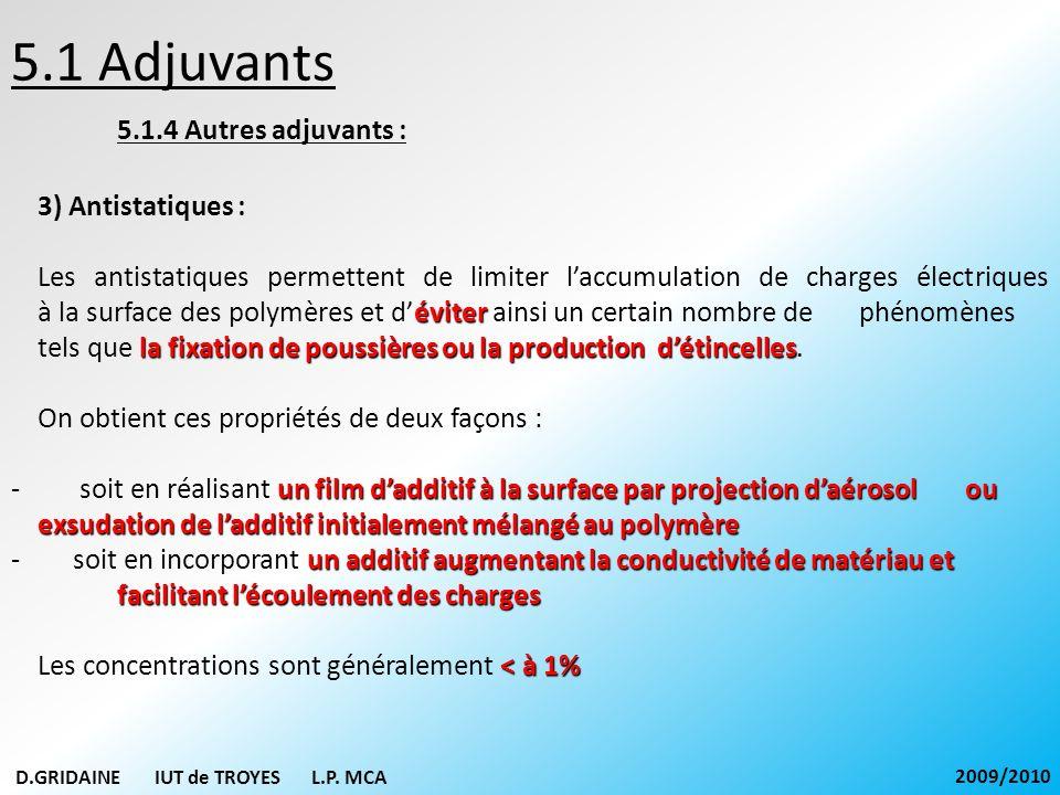 5.1 Adjuvants 5.1.4 Autres adjuvants : 3) Antistatiques : éviter la fixation de poussières ou la production détincelles Les antistatiques permettent d