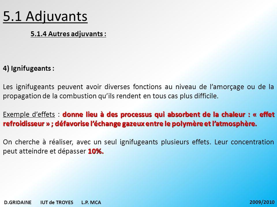 5.1 Adjuvants 5.1.4 Autres adjuvants : 4) Ignifugeants : Les ignifugeants peuvent avoir diverses fonctions au niveau de lamorçage ou de la propagation