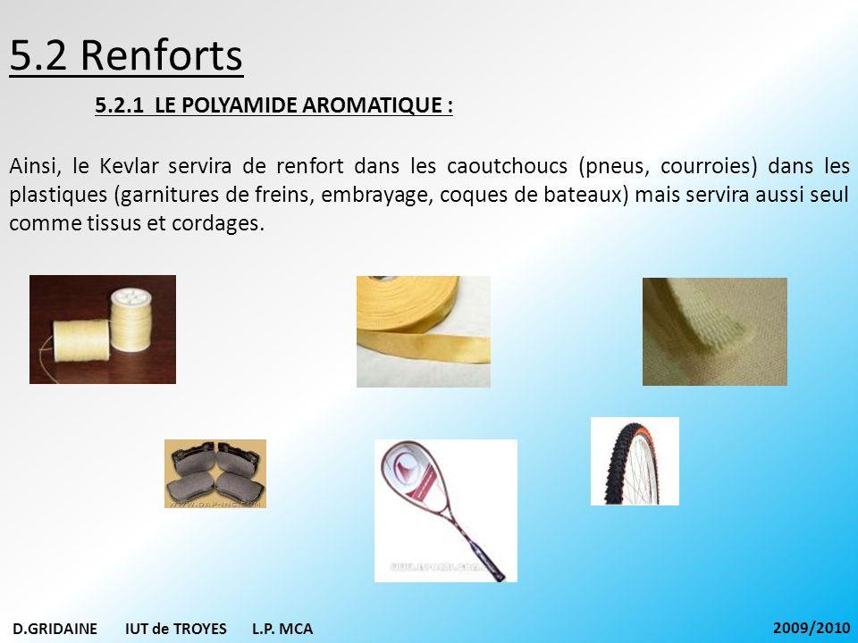 5.2 Renforts 5.2.1 LE POLYAMIDE AROMATIQUE : Ainsi, le Kevlar servira de renfort dans les caoutchoucs (pneus, courroies) dans les plastiques (garnitur