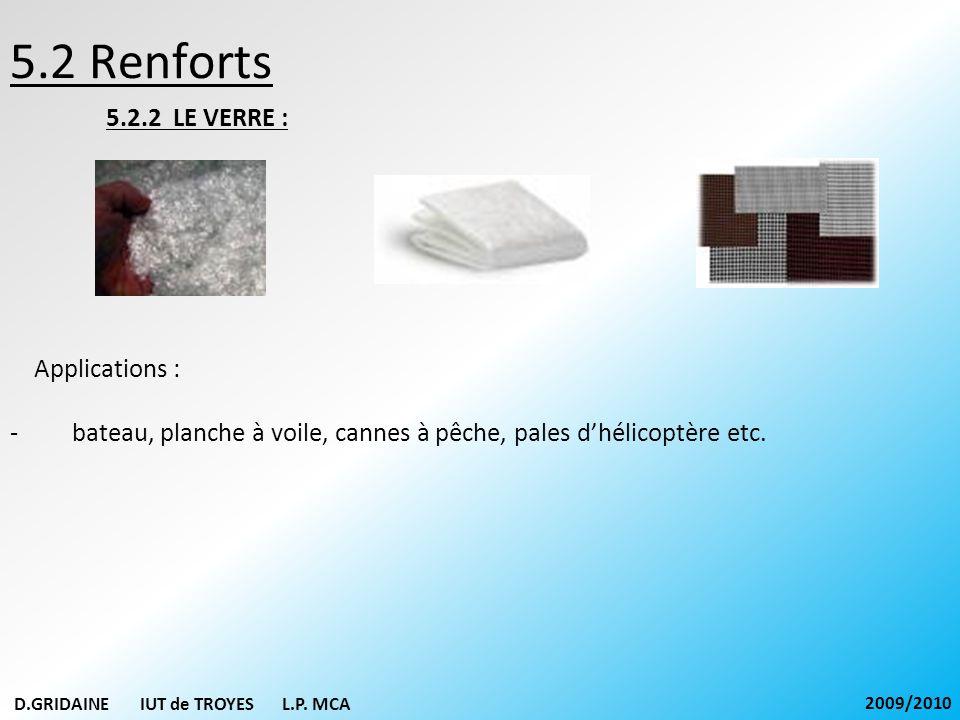 5.2 Renforts 5.2.2 LE VERRE : Applications : - bateau, planche à voile, cannes à pêche, pales dhélicoptère etc. D.GRIDAINE IUT de TROYES L.P. MCA 2009