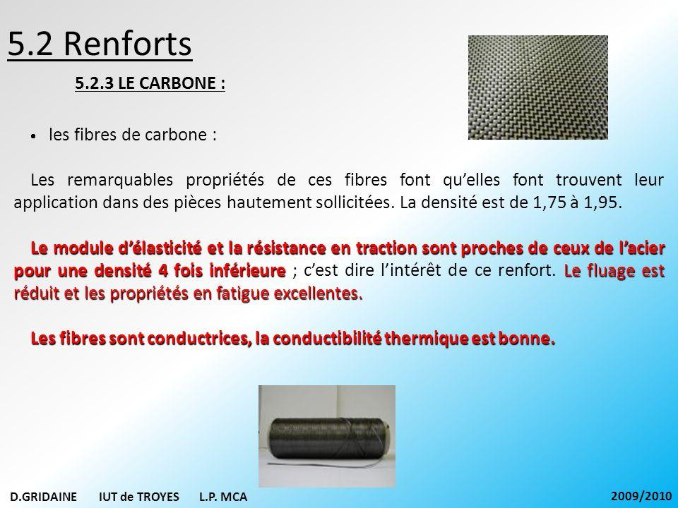5.2 Renforts 5.2.3 LE CARBONE : les fibres de carbone : Les remarquables propriétés de ces fibres font quelles font trouvent leur application dans des
