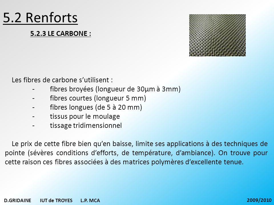 5.2 Renforts 5.2.3 LE CARBONE : Les fibres de carbone sutilisent : - fibres broyées (longueur de 30µm à 3mm) - fibres courtes (longueur 5 mm) - fibres