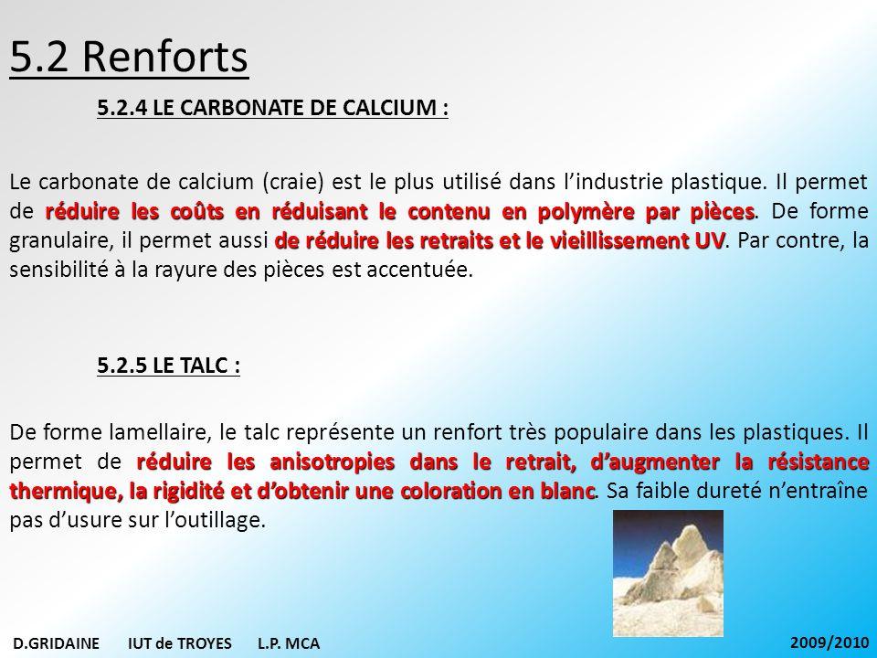 5.2 Renforts 5.2.4 LE CARBONATE DE CALCIUM : réduire les coûts en réduisant le contenu en polymère par pièces de réduire les retraits et le vieillisse