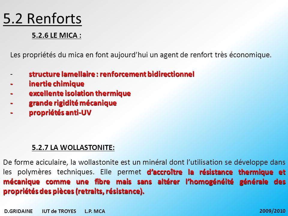 5.2 Renforts 5.2.6 LE MICA : Les propriétés du mica en font aujourdhui un agent de renfort très économique. structure lamellaire : renforcement bidire